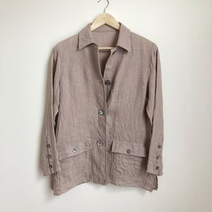 3/$50 Oat Linen Button Up Top or Blazer Vintage
